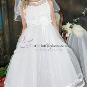 Designer Embroidered First Communion Dress Size 6