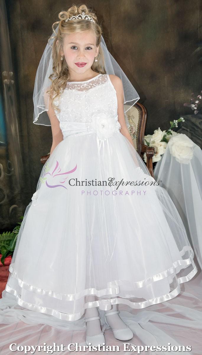 Embroidered First Communion Dress Organza Layered Skirt