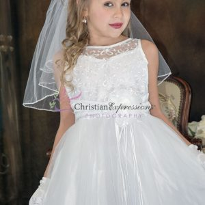 Designer Embroidered First Communion Dress Size 7