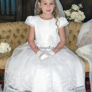 Designer First Communion Dress with Embroidered Leaves Design