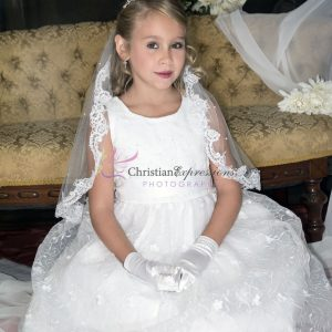 Designer Quality Sleeveless Embroidered Lace First Communion Dress