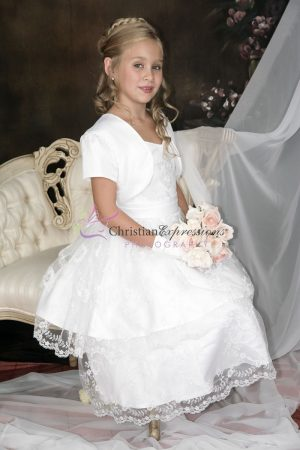 Double Layer Embroidered Skirt First Communion Dress with Jacket Size 8