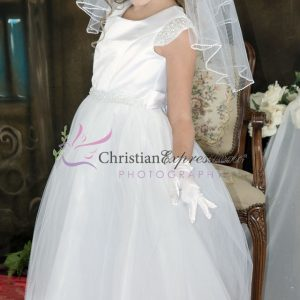 First Communion Dress pearl cap sleeves size 12
