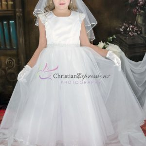 First Communion Dress pearl cap sleeves size 14