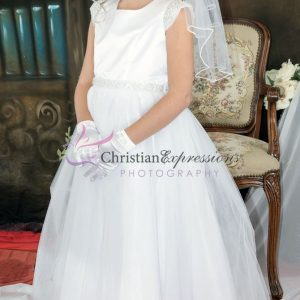 First Communion Dress pearl cap sleeves size 16