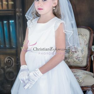 First Communion Dress pearl cap sleeves size 18