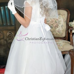 First Communion Dress pearl cap sleeves size 20