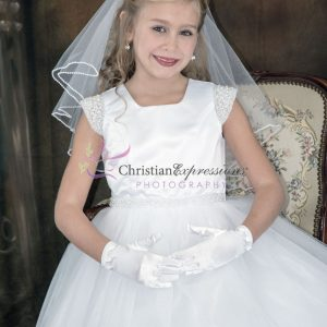 First Communion Dress pearl cap sleeves size 7