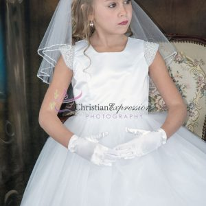 First Communion Dress pearl cap sleeves size 8