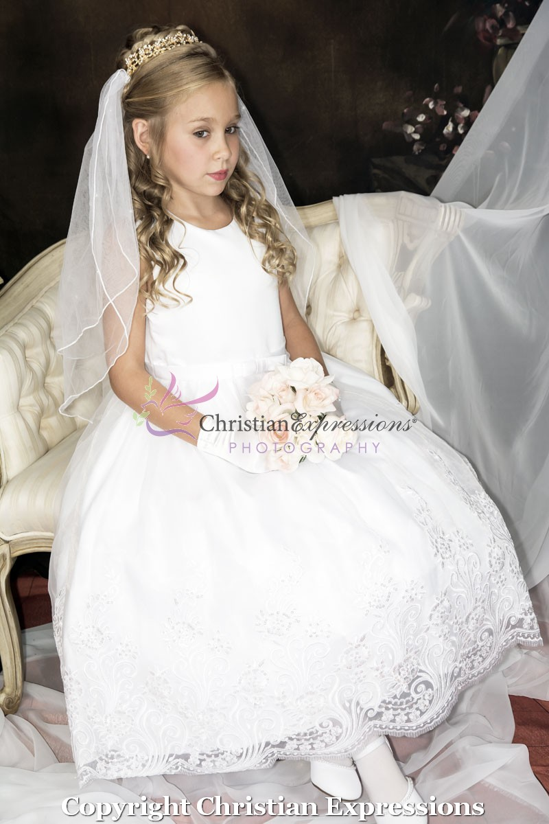 First Communion Dresses with Lace Skirt