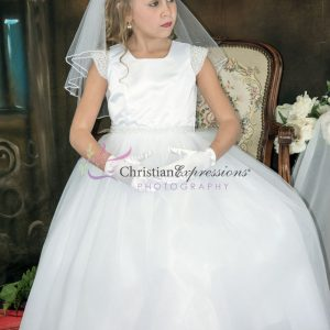 First Communion Dresses with Pearls on Waist and Cap Sleeves