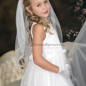 First Holy Communion Lace Skirt Satin Bodice and Bow