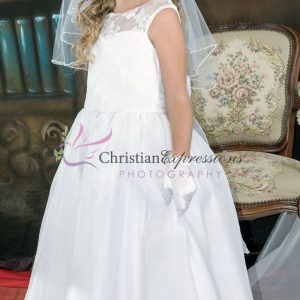 Floral Lace Bodice Designer First Communion Dress size 12