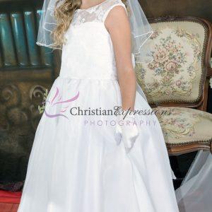 Floral Lace Bodice Designer First Communion Dress size 12