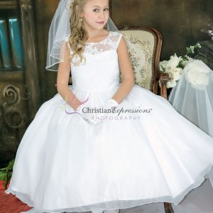 Floral Lace Bodice Designer First Communion Dress size 6