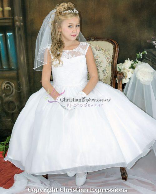Floral Lace Bodice Designer First Communion Dress size 6