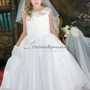 Floral Lace Bodice Designer First Communion Dress size 8