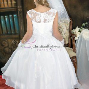 Girls Floral Lace Bodice Designer First Communion Dress size 6