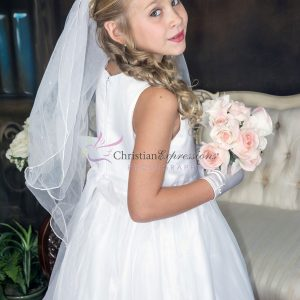 Gold First Holy Communion Crown Veil with Pearls