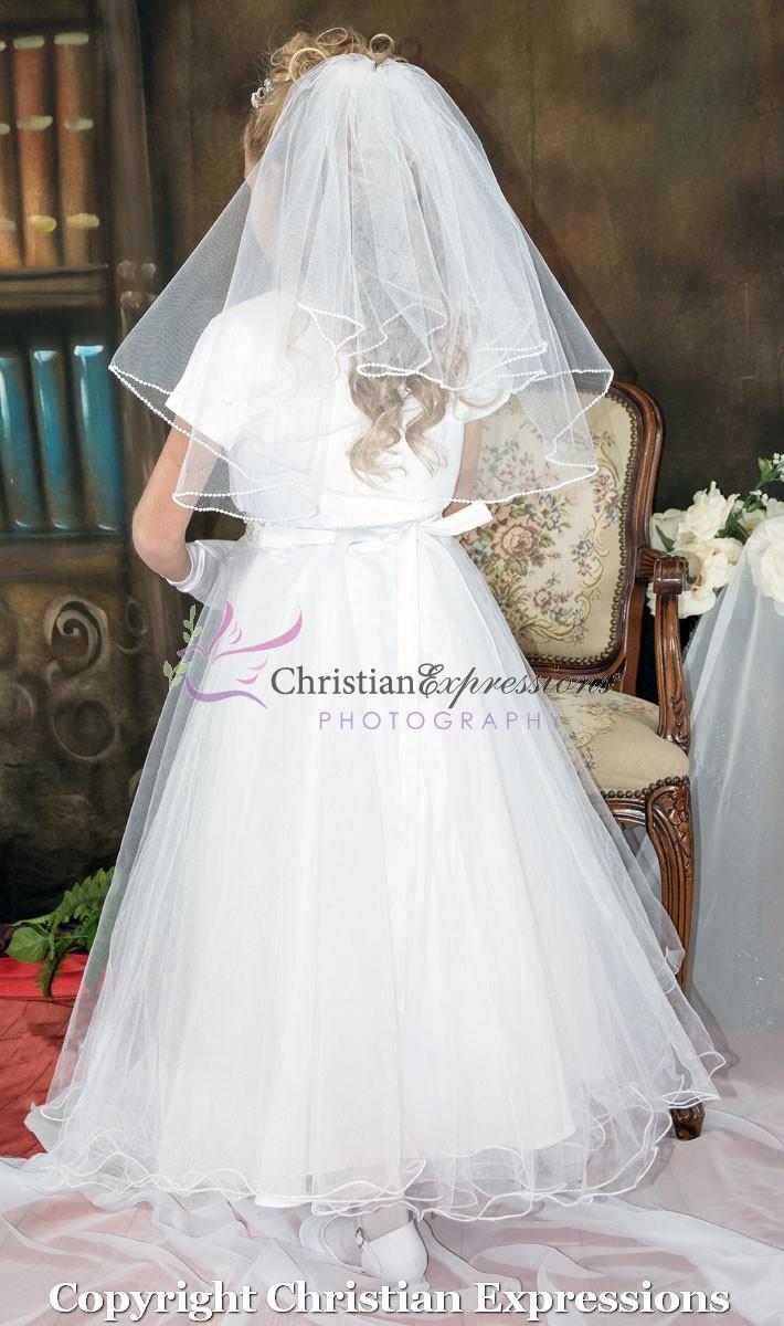 Halter Bodice Pearls First Communion Dress Designer First
