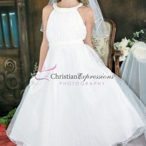 Halter Bodice Pearls First Communion Dress size 14