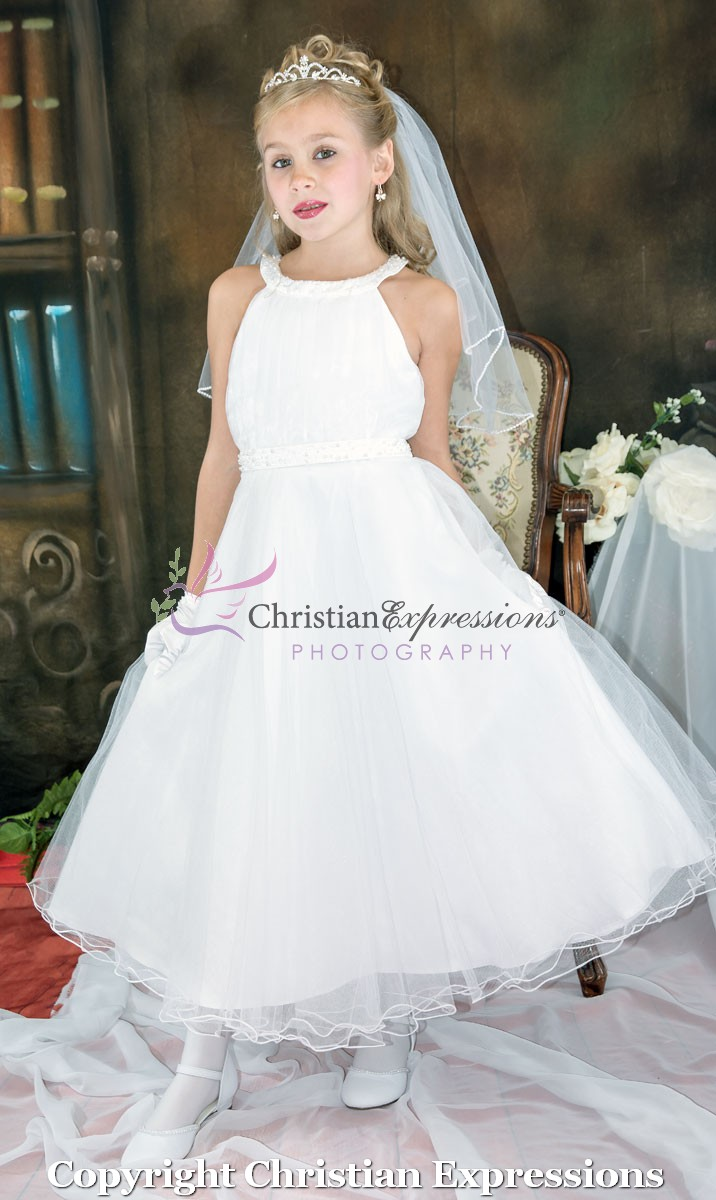 e4d86966c Halter Bodice Pearls First Communion Dress