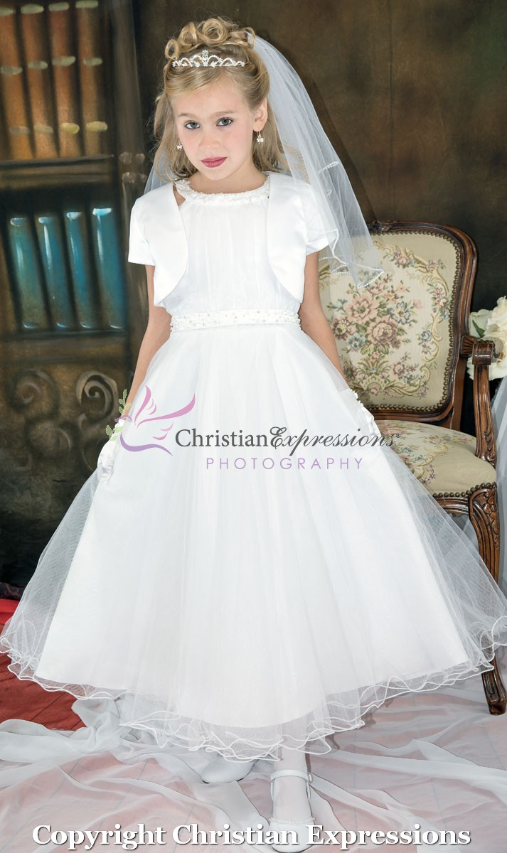 Halter Bodice Pearls First Communion Dresses with Bolero Jacket Size 6