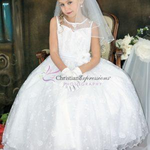 Designer Embroidered Girls First Communion Dress
