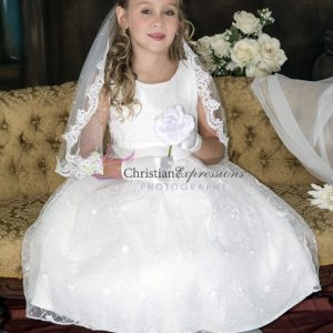 Modern First Communion Dress with Embroidered Lace