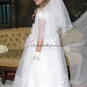 Modern First Communion Dress with Embroidered Leaves Design
