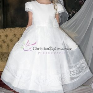 Short Sleeve Satin First Communion Dress with Embroidered Leaves Design