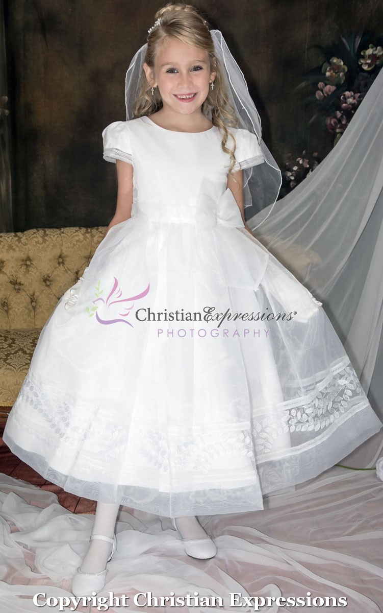 Short Sleeve Satin First Communion Dress With Embroidered