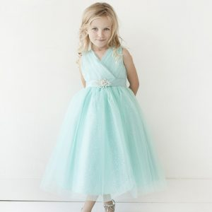 Aqua Flower Girl Dress Glitter Tulle with Rhinestone Brooch