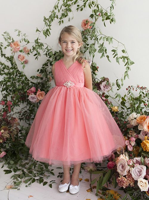 Coral Flower Girl Dress Glitter Tulle with Rhinestone Brooch