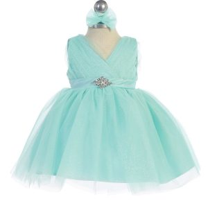 Glitter V Neck Tulle Aqua Flower Girl Dress Rhinestone Brooch