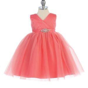 Glitter V Neck Tulle Coral Flower Girl Dress Rhinestone Brooch (2)