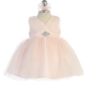 Glitter V Neck Tulle Coral Flower Girl Dress Rhinestone Brooch