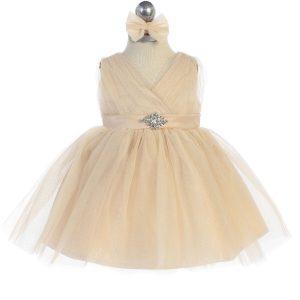 Glitter V Neck Tulle Gold Flower Girl Dress Rhinestone Brooch