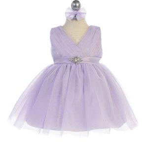 Glitter V Neck Tulle Lilac Flower Girl Dress Rhinestone