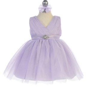 Glitter V Neck Tulle Lilac Flower Girl Dress Rhinestone Brooch