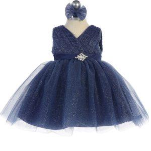 Glitter V Neck Tulle Navy Blue Flower Girl Dress Rhinestone Brooch