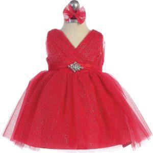 Glitter V Neck Tulle Red Flower Girl Dress Rhinestone Brooch