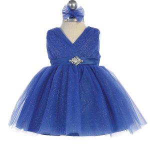 Glitter V Neck Tulle Royal Blue Flower Girl Dress Rhinestone Brooch