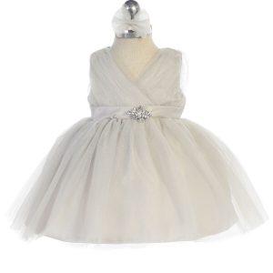Glitter V Neck Tulle Silver Flower Girl Dress Rhinestone Brooch