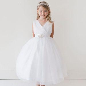 Glitter V Neck Tulle White Flower Girl Dress Rhinestone Brooch