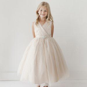 Ivory Flower Girl Dress Glitter Tulle with Rhinestone Brooch