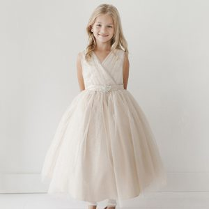 Ivory Flower Girl Dress Glitter Tulle with Rhinestone Brooch