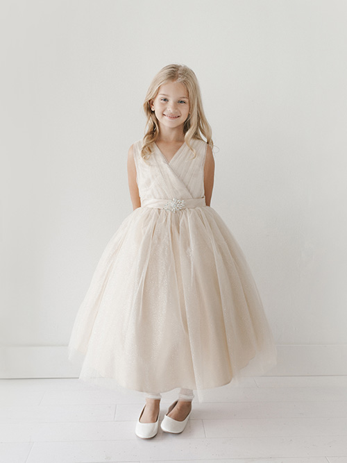 Flowers Floor-Length Tulle Flower Girl Dress - Tbdress.com |Flower Girl Dress Brooches