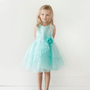 Layered Organza Aqua Girls Pageant Dress
