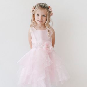 Layered Organza Blush Pink Girls Pageant Dress